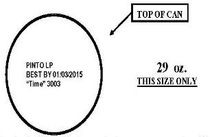 La Preferida Canned Pinto Beans lid diagram